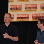 "Josef Hall, Vice President of Development at KingsIsle Entertainment, (left) and Todd Coleman, Vice President and Creative Director at KingsIsle Entertainment, (right) gave a keynote at Digital Kids entitled ""From Hardcore Gaming to the Kids Market with Wizard 101 Creators."""